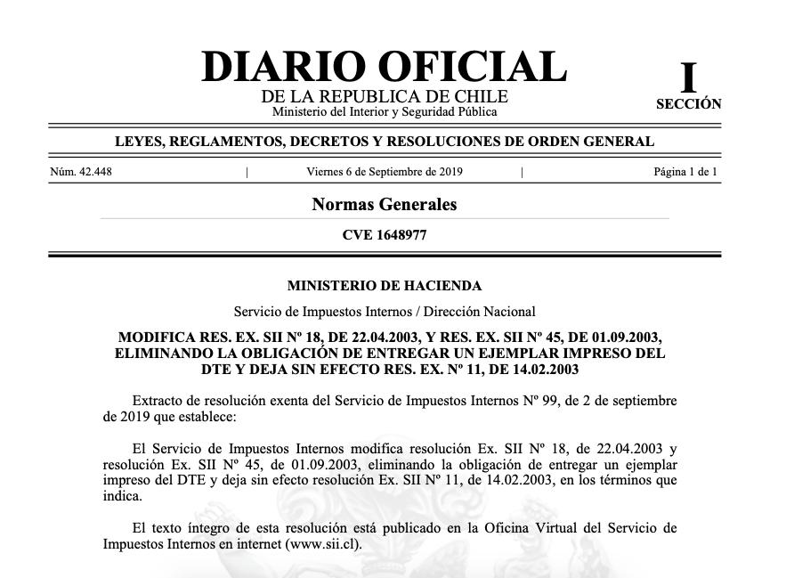 Resolución Exenta N° 99 del 02.09.2019
