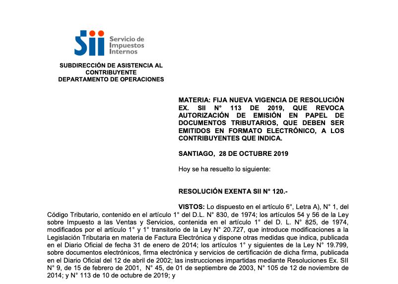 Publicación de Resolución Exenta N° 120 del 28.10.2019